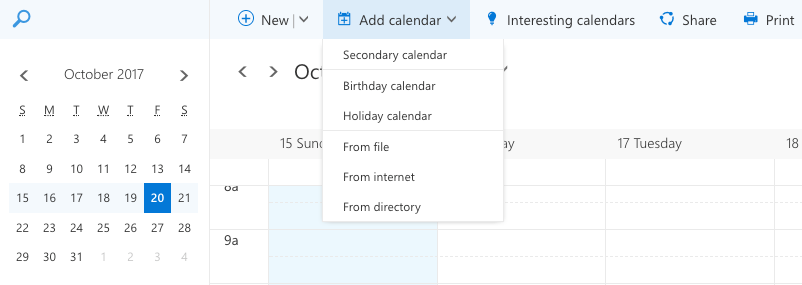 Outlook browser client add to calendar feature