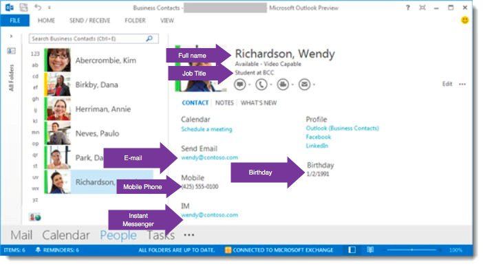 Where does the profile information come from in Office 365?